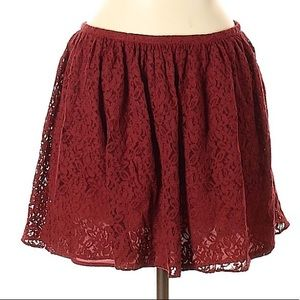 Madewell lace burgundy mini skirt size 6
